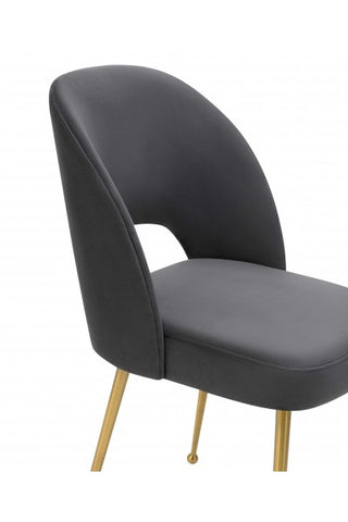 Dark Gray Velvet Dining Chair