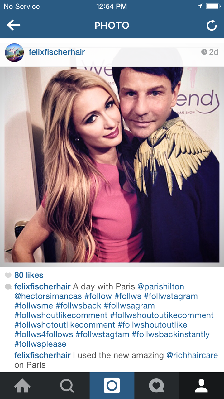 Felix Fischer used RICH Haircare products on Paris Hilton