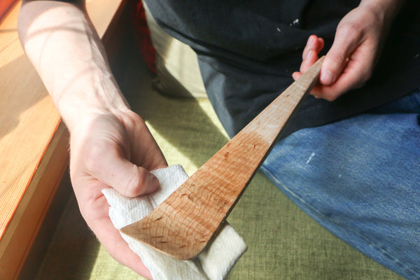 The difference applying good wood conditioner makes to a wooden kitchen utensil