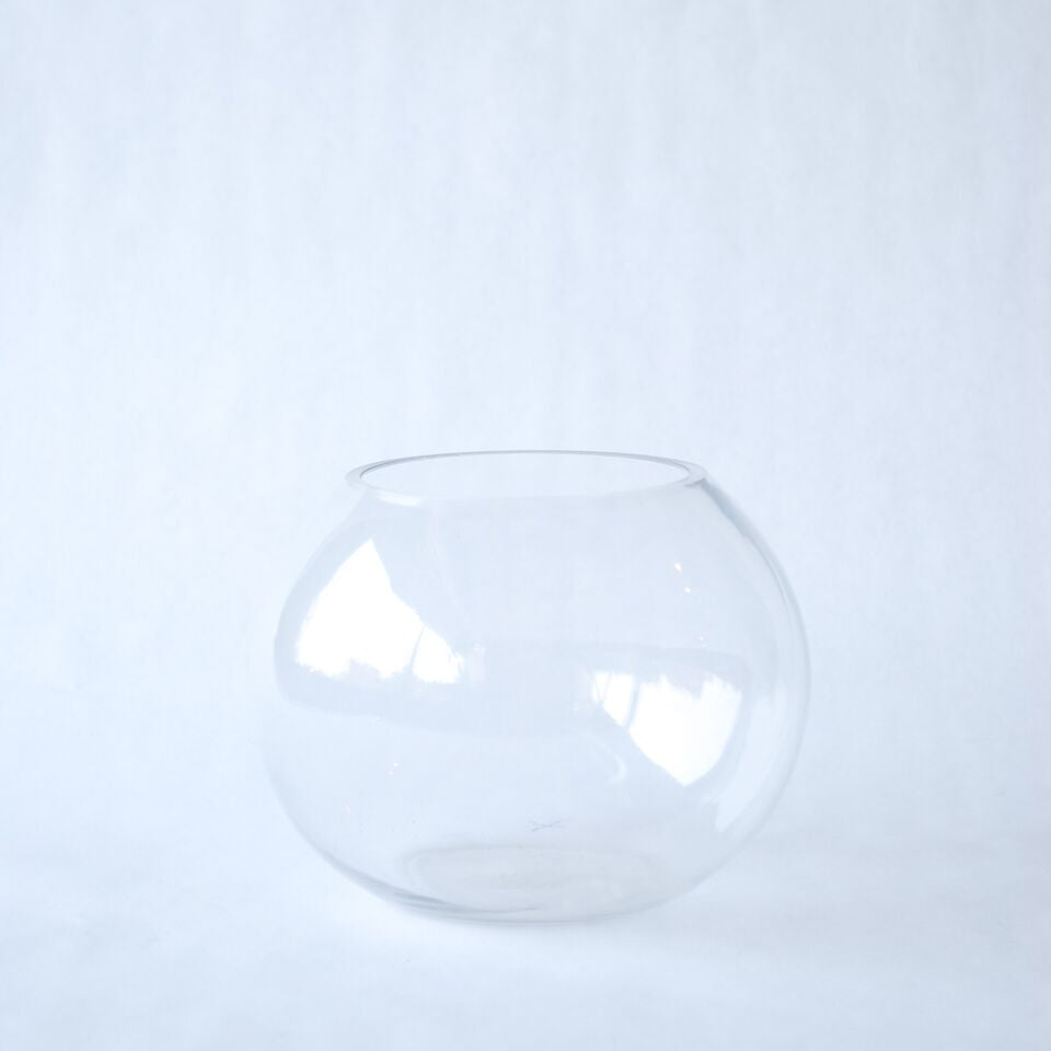 Clear Hand-Blown Glass Bubble Vase