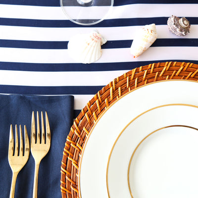 Blue and White Striped Satin Table Runner