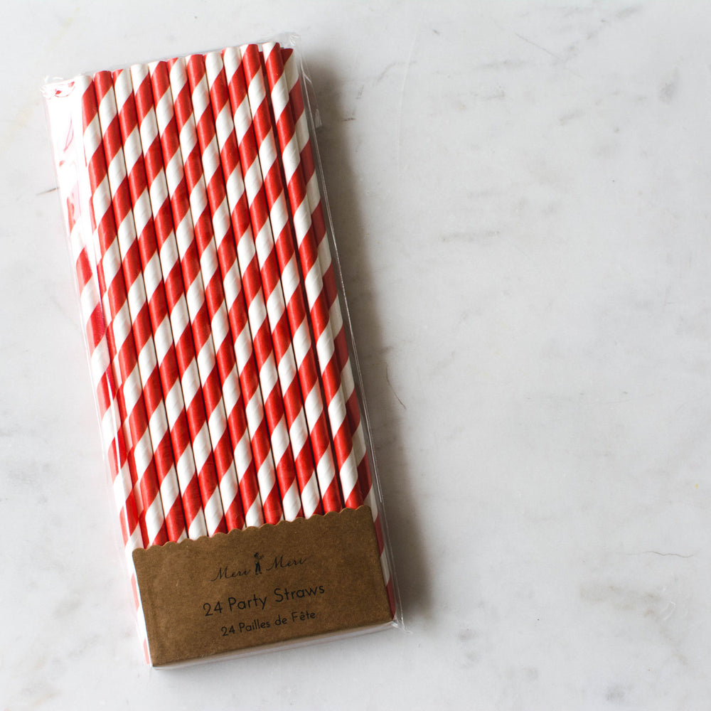Red + White Striped Straws