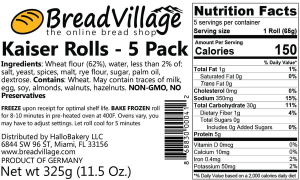 German Kaiser Roll - 5 Pack