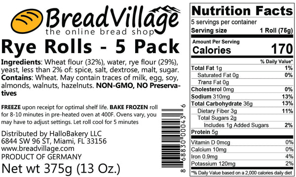 German Rye Roll - 5 Pack