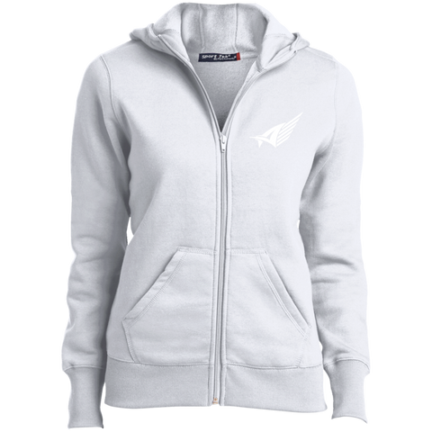 Ladies' Aize White Zip Up Hoodie