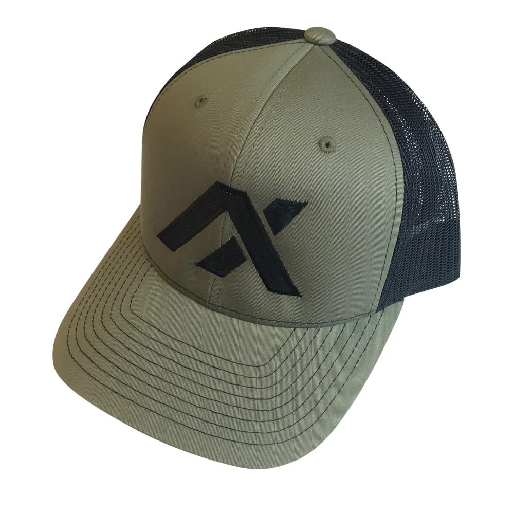 AXIL Black Logo Green Front Trucker Hat