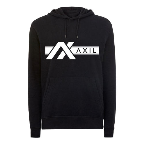 AXIL White Off Center Logo Black Hoodie