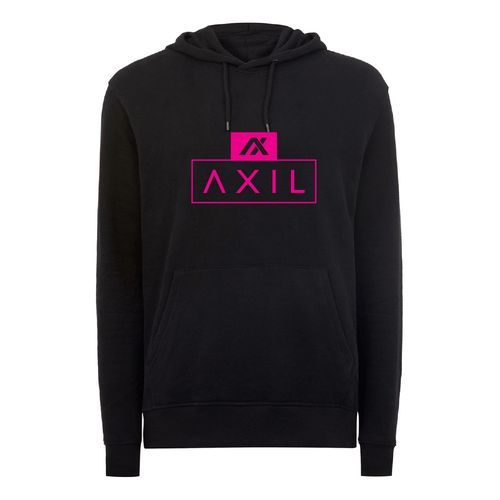 AXIL Pink Center Logo Black Hoodie