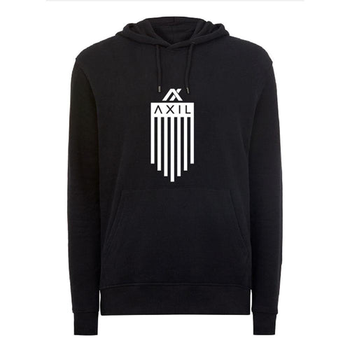 AXIL White Vertical Flag Logo Black Hoodie