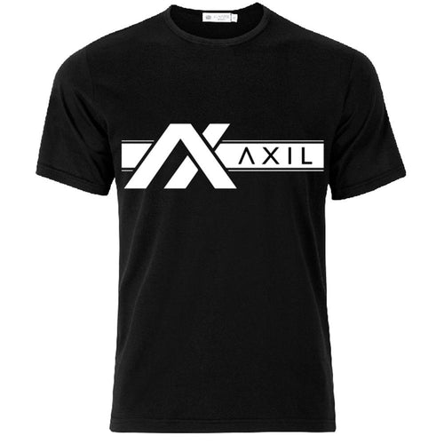 AXIL White Off Center Logo Black Short Sleeve T-Shirt
