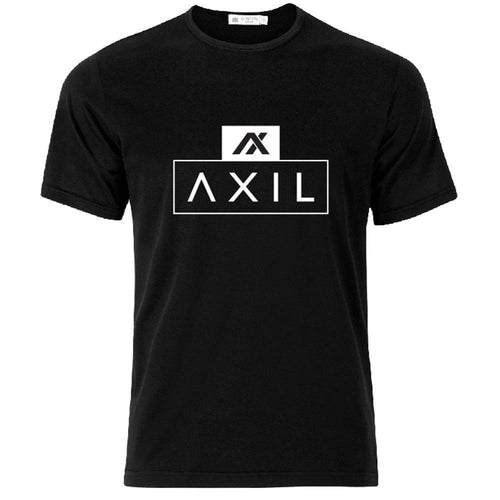 AXIL White Center Logo Black Short Sleeve T-Shirt