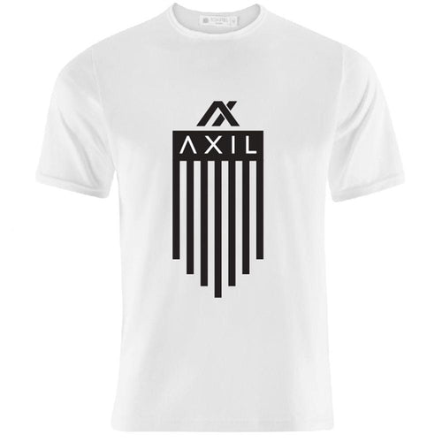 AXIL Black Vertical Flag Logo White Short Sleeve T-Shirt