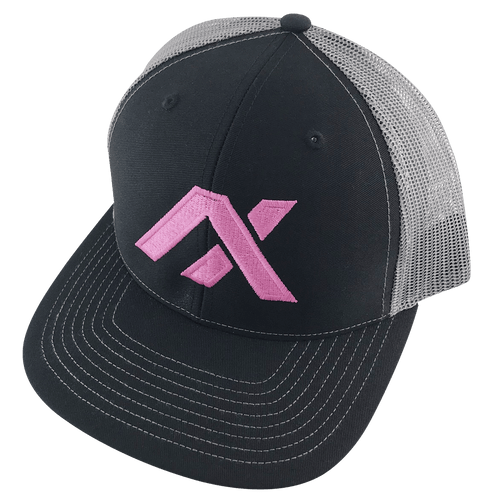 AXIL Pink Logo Gray Back Trucker Hat