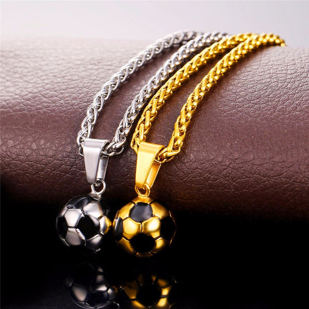 NECKLACE FOR MEN WITH SOCCER PENDANT BALL