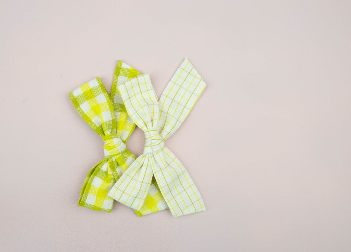Wasabi Gingham | Multiple Styles (Headband or Clip)
