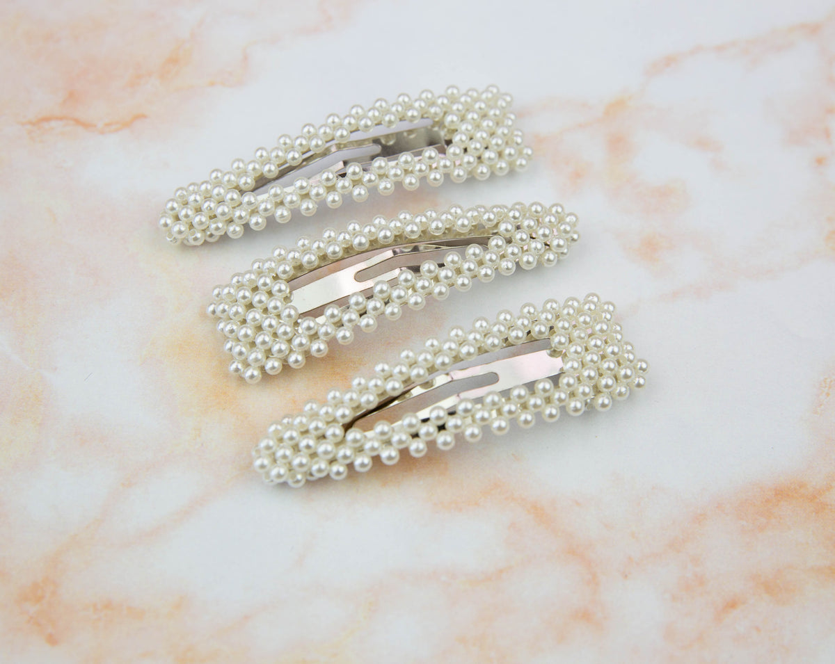 Pearl Round Silver Snap Clip  ||  Snap Clip