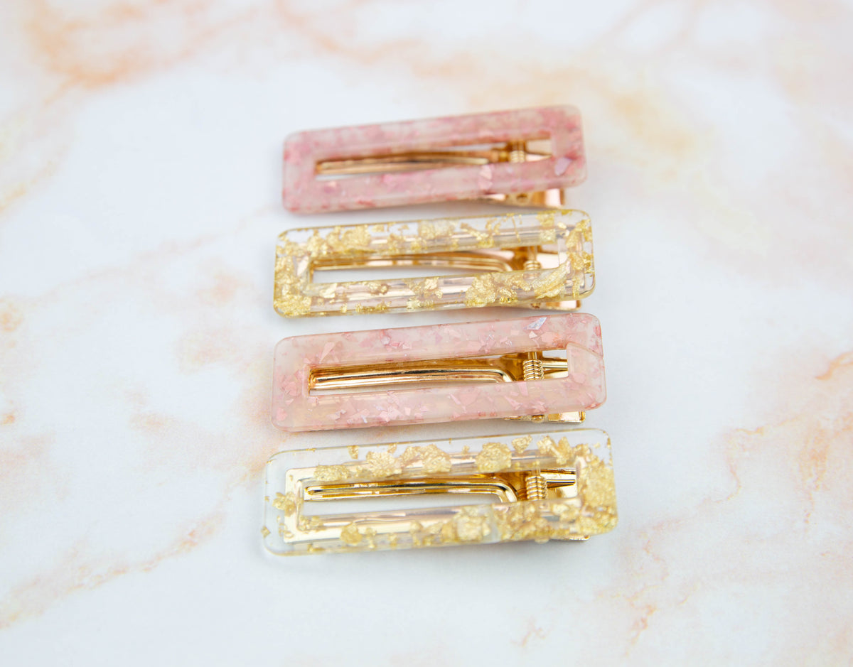 Gold Sparkle Rectangle || Hair Clip