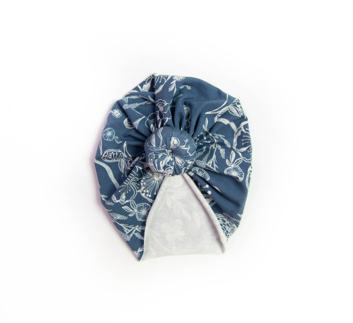 Dusty Blue Floral Headwrap Turban | Knit Headwrap