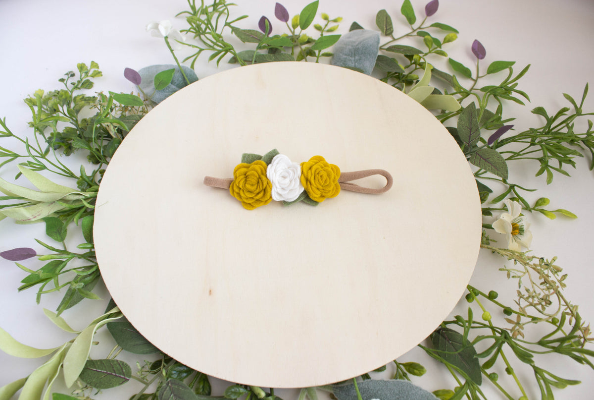 Mustard Felt Flower Crown