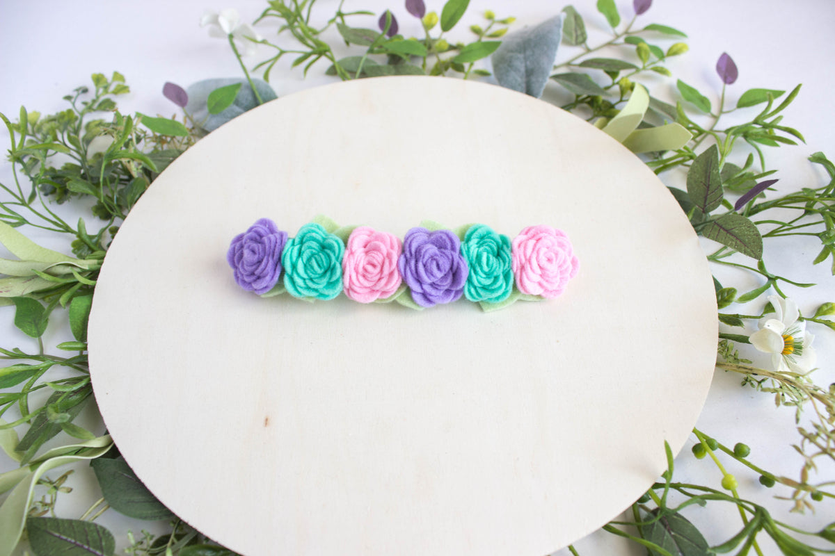 Pink Mint and Purple Felt Flower Crown