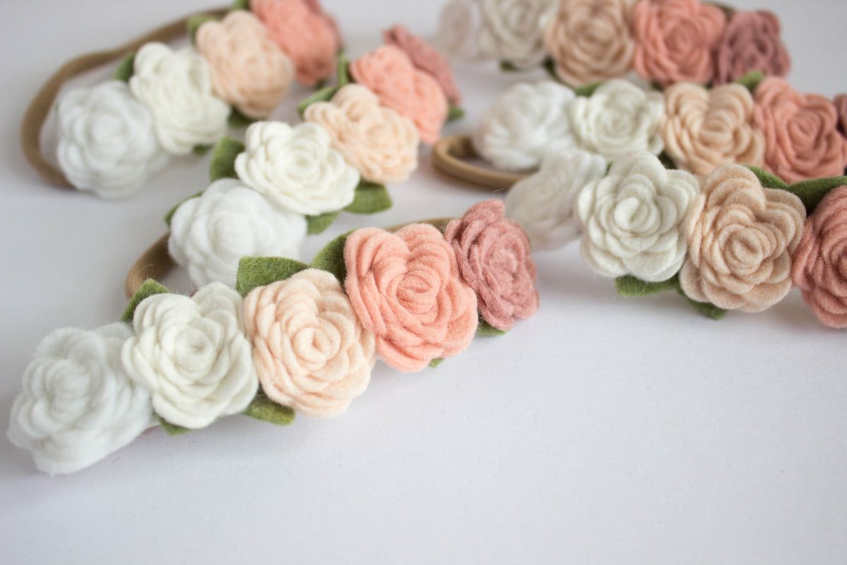 Blush Pink Ombre Felt Flower Crown