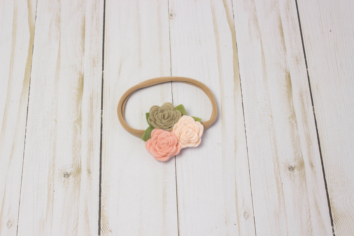 Felt Flower Crown | Pink Tan Cluster