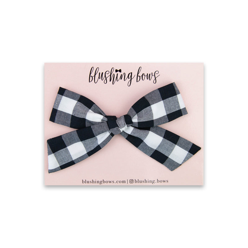 Large Black Gingham | Multiple Styles (Headband or Clip)