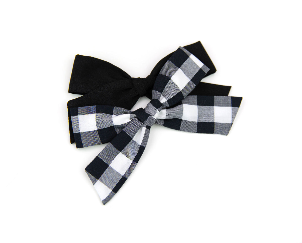 Black Crepe de Chine | Multiple Styles (Headband or Clip)