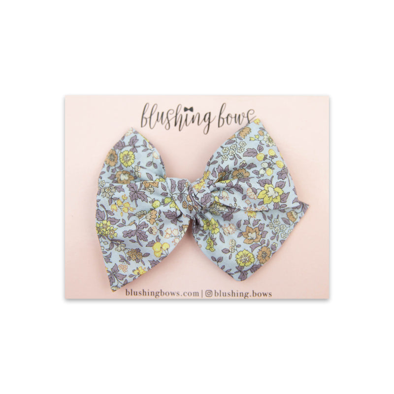 Dusty Blue Floral | Multiple Styles (Headband or Clip)