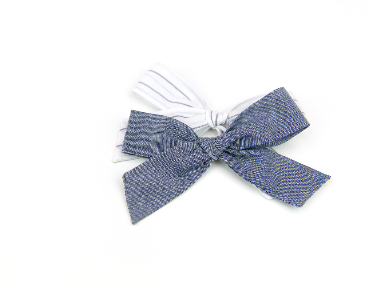 Chambray Stripe | Multiple Styles (Headband or Clip)