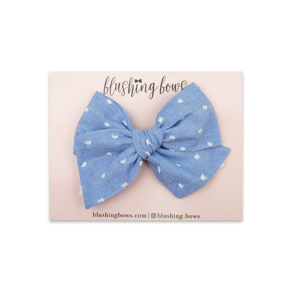 Blue Swiss Dot | Multiple Styles (Headband or Clip)