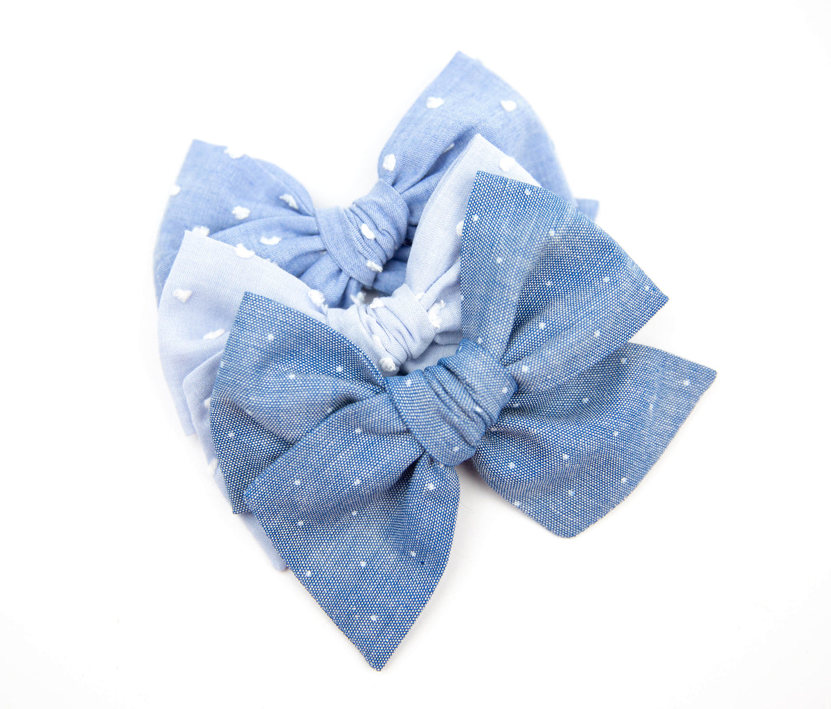 Light Blue Chambray Dot | Multiple Styles (Headband or Clip)
