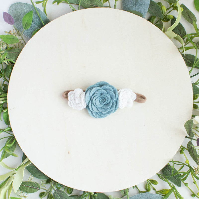 Dusty Blue Felt Flower Crown