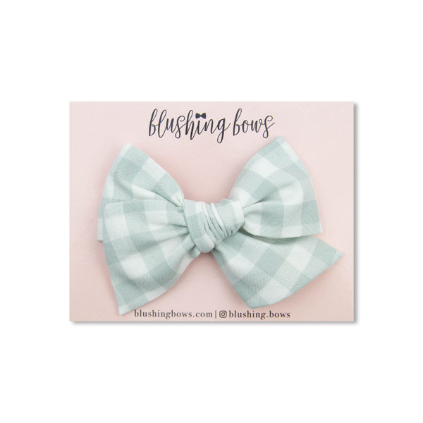 Dusty Mint Gingham | Multiple Styles (Headband or Clip)