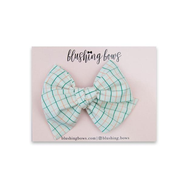 Green and Peach Grid $5 | Multiple Styles (Headband or Clip)
