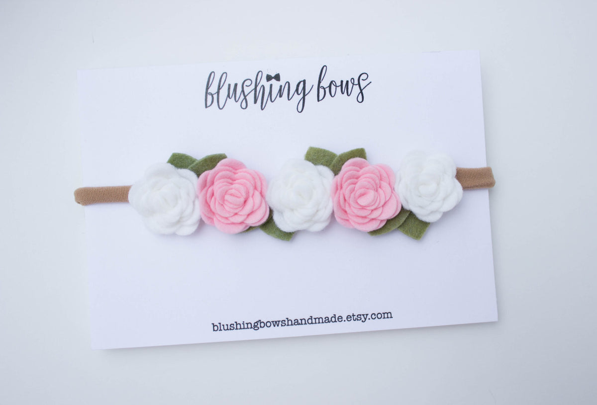 Pink and White Felt Flower Crown