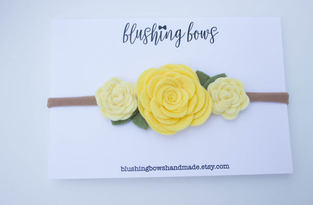 Yellow Felt Flower Crown