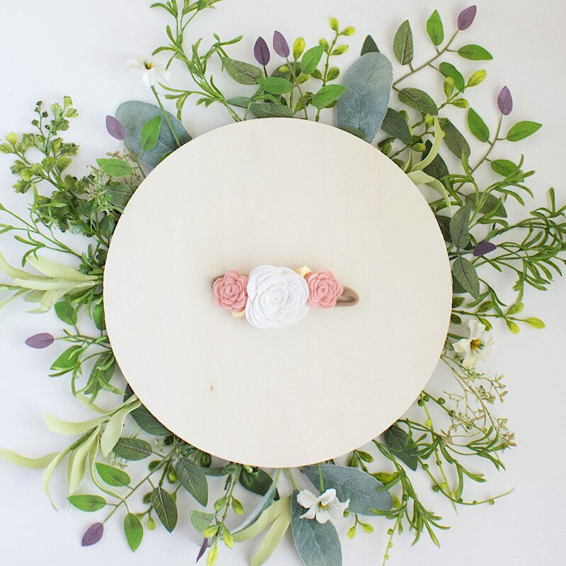 Blush Pink and Gold Felt Flower Crown