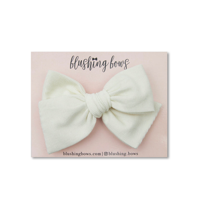 Ivory Corduroy | Multiple Styles (Headband or Clip)