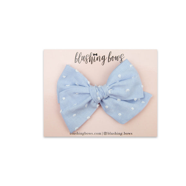 Powder Blue Swiss Dot | Multiple Styles (Headband or Clip)