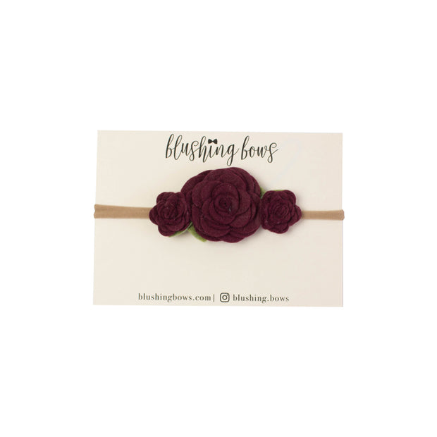 Felt Flower Crown | Maroon Trio