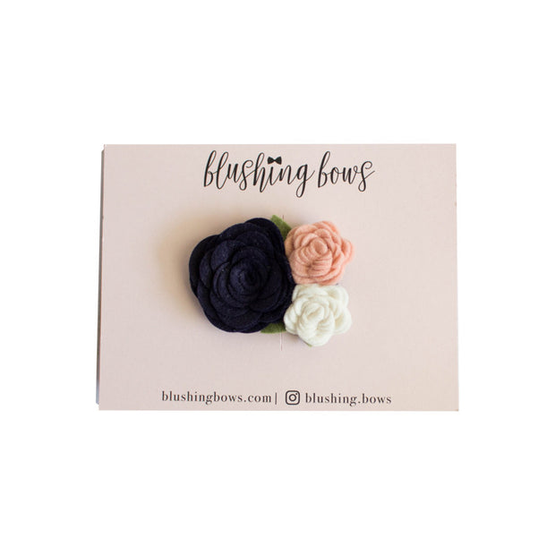 Navy and Pink Felt Flower Crown