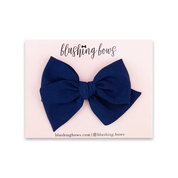 Navy Crepe de Chine | Multiple Styles (Headband or Clip)