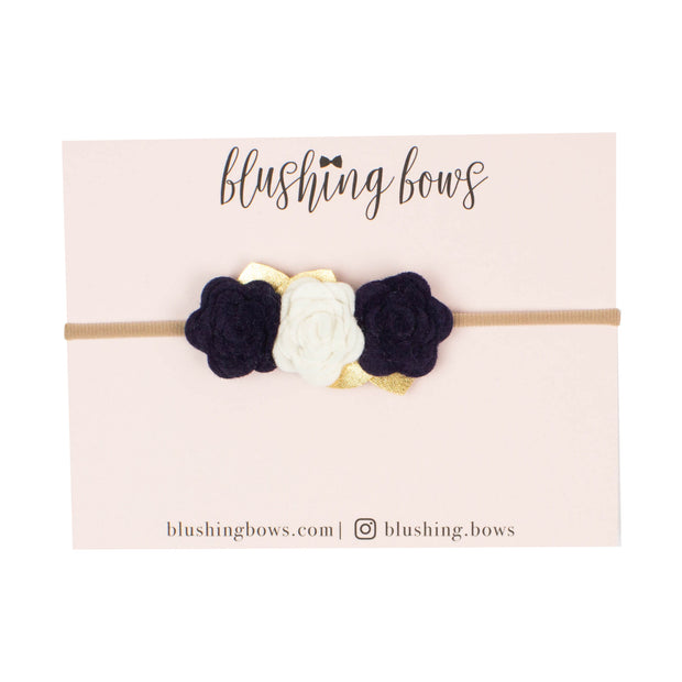 Navy Felt Flower Crown