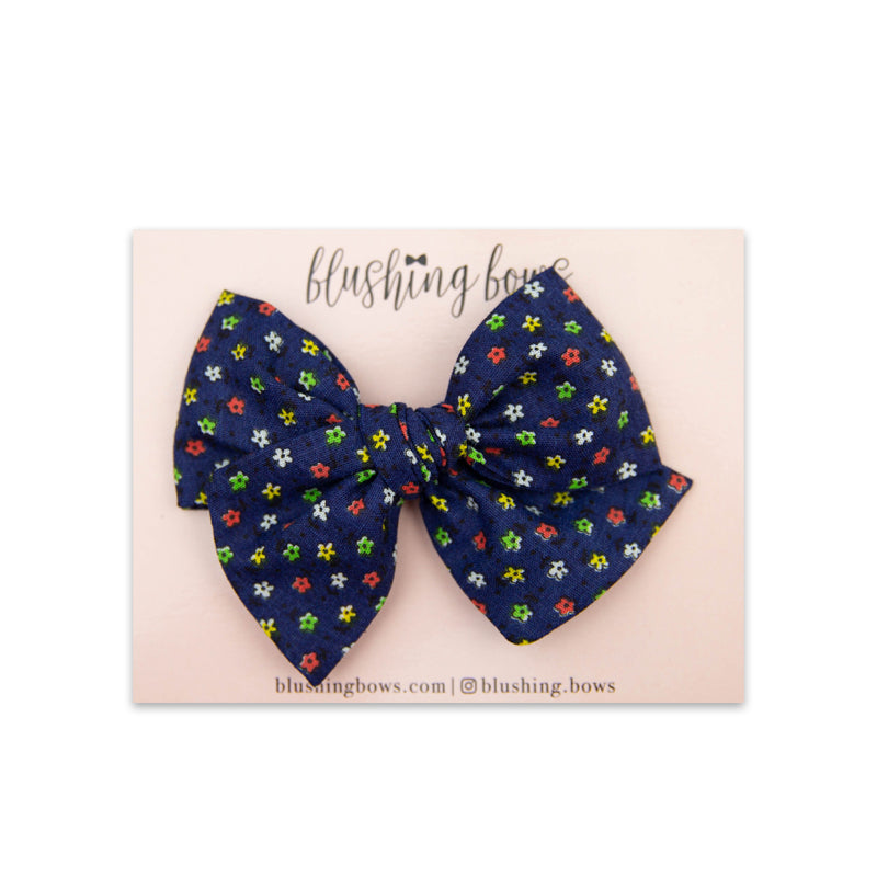 Navy Floral Vintage | Multiple Styles (Headband or Clip)