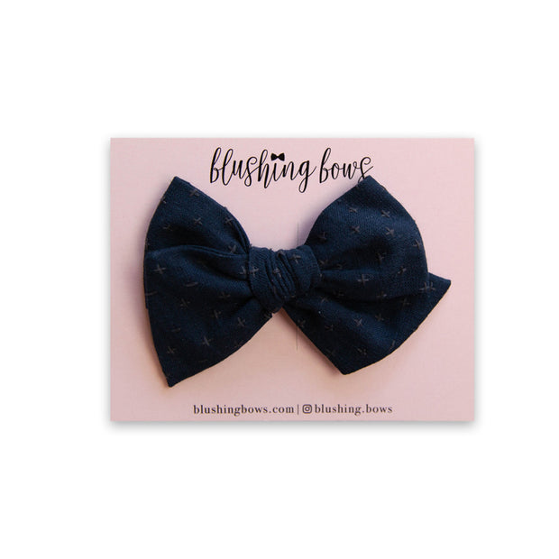 Navy Texture | Multiple Styles (Headband or Clip)