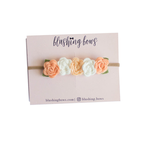 Peachy Keen Felt Flower Crown