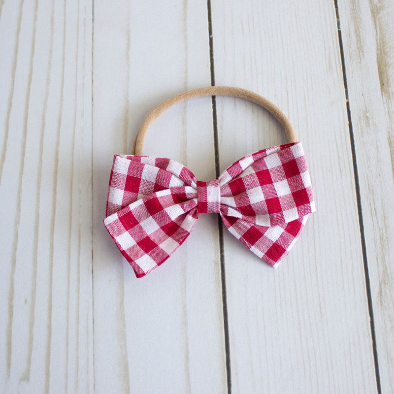 Red Gingham | Multiple Styles (Headband or Clip)