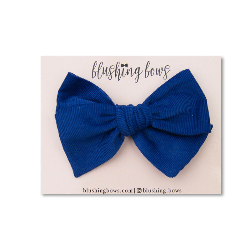 Royal Blue Corduroy | Multiple Styles (Headband or Clip)