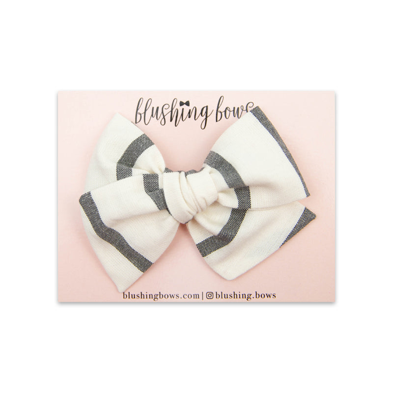 Grey Stripe Bow | Multiple Styles (Headband or Clip)